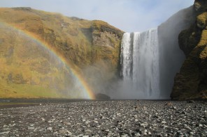Les chutes de Skógafoss en été