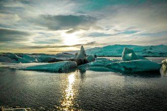Coucher de soleil sur Jokulsarlon