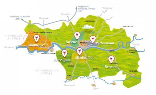Carte des vignobles du Périgord (source :http://www.vins-bergerac.fr/)