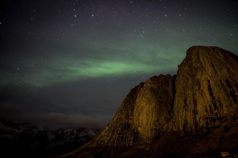 Aurore boréale dans les Iles Lofoten en Norvège