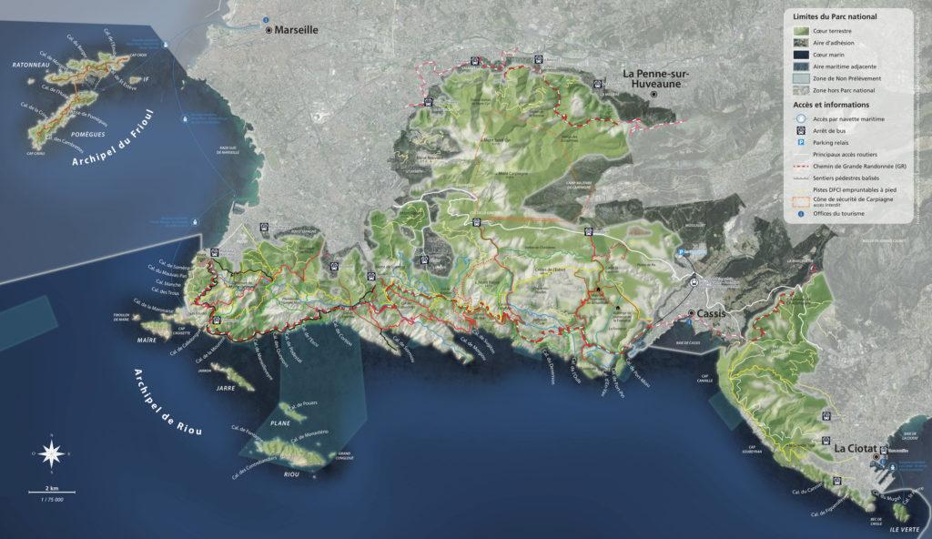 Carte des calanques de Cassis et Marseille